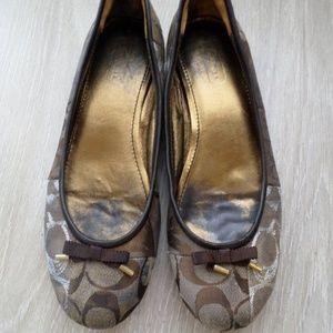 Coach Thora Brown Slip On Ballet Flats